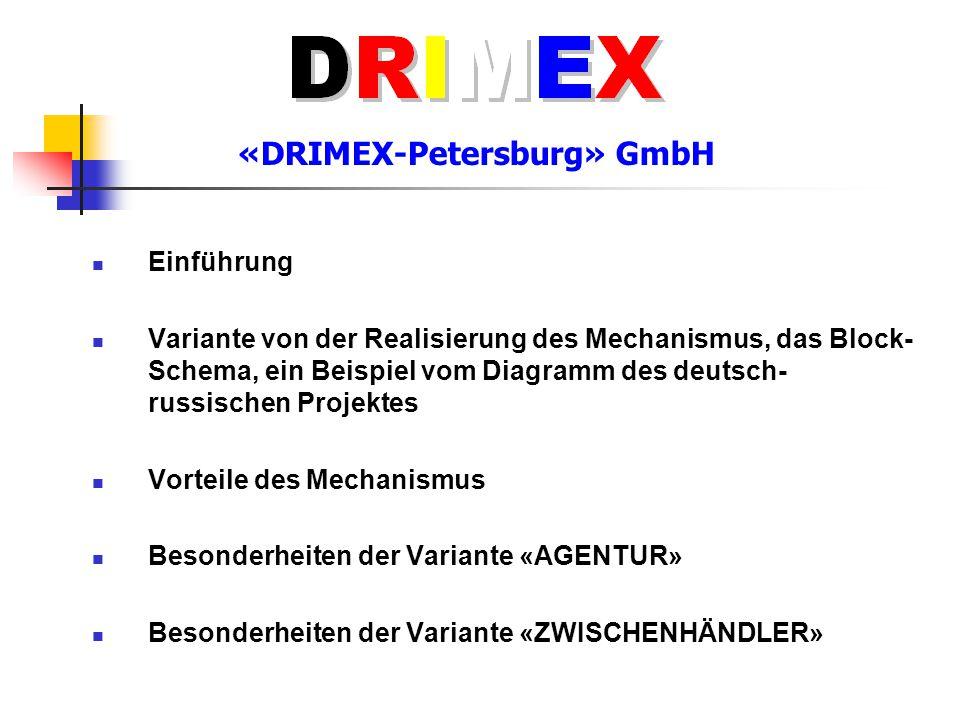 Einführung Variante von der Realisierung des Mechanismus, das Block- Schema, ein Beispiel vom Diagramm des deutsch- russischen Projektes Vorteile des