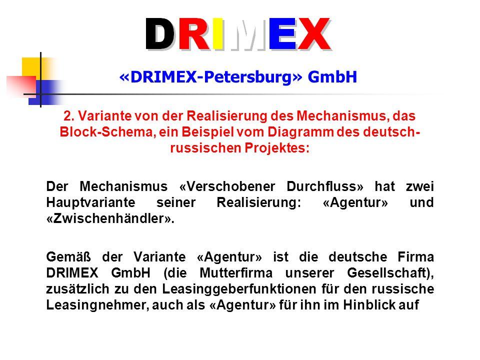 «DRIMEX-Petersburg» GmbH 2. Variante von der Realisierung des Mechanismus, das Block-Schema, ein Beispiel vom Diagramm des deutsch- russischen Projekt