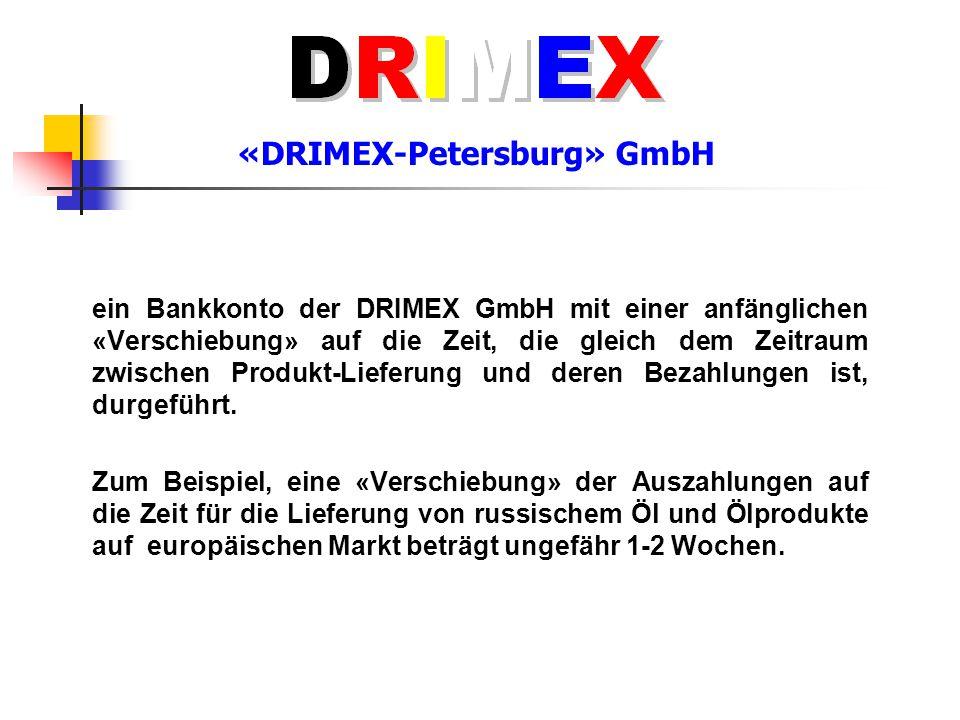 «DRIMEX-Petersburg» GmbH Aufgrund der solchen anfänglichen «Verschiebung» wird über das Bankkonto der DRIMEX GmbH eine «Zahlungsverzögerung» vom Anteil der Erlöse aus dem Verkauf der ersten Lieferung der russischen Waren zu Gunsten des Verkäufers bis zum Zeitpunkt des Gutschreibens des Betrages von ganzen Erlöse der zweiten Lieferung, das einen Anteil des Verkäufers von der Erlöse der ersten Lieferung von der Deckungsfunktion für die deutschen Investitionen «befreit», durchgeführt.