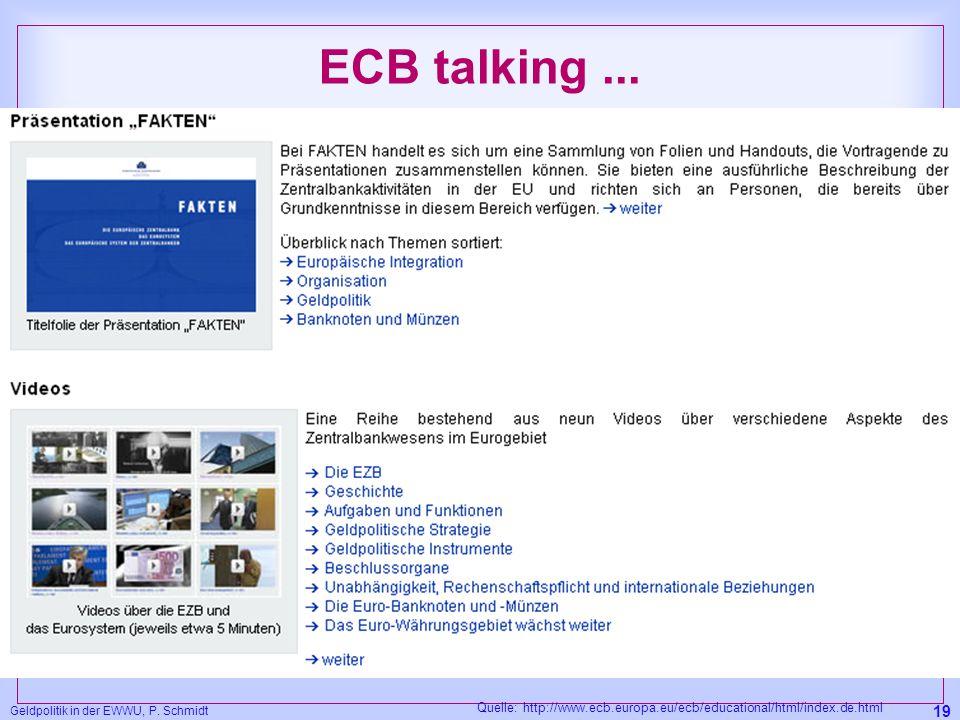 Geldpolitik in der EWWU, P. Schmidt 19 ECB talking... Quelle: http://www.ecb.europa.eu/ecb/educational/html/index.de.html