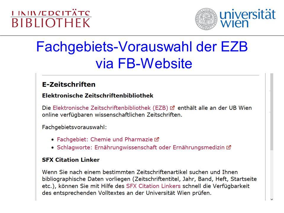 Fachgebiets-Vorauswahl der EZB via FB-Website