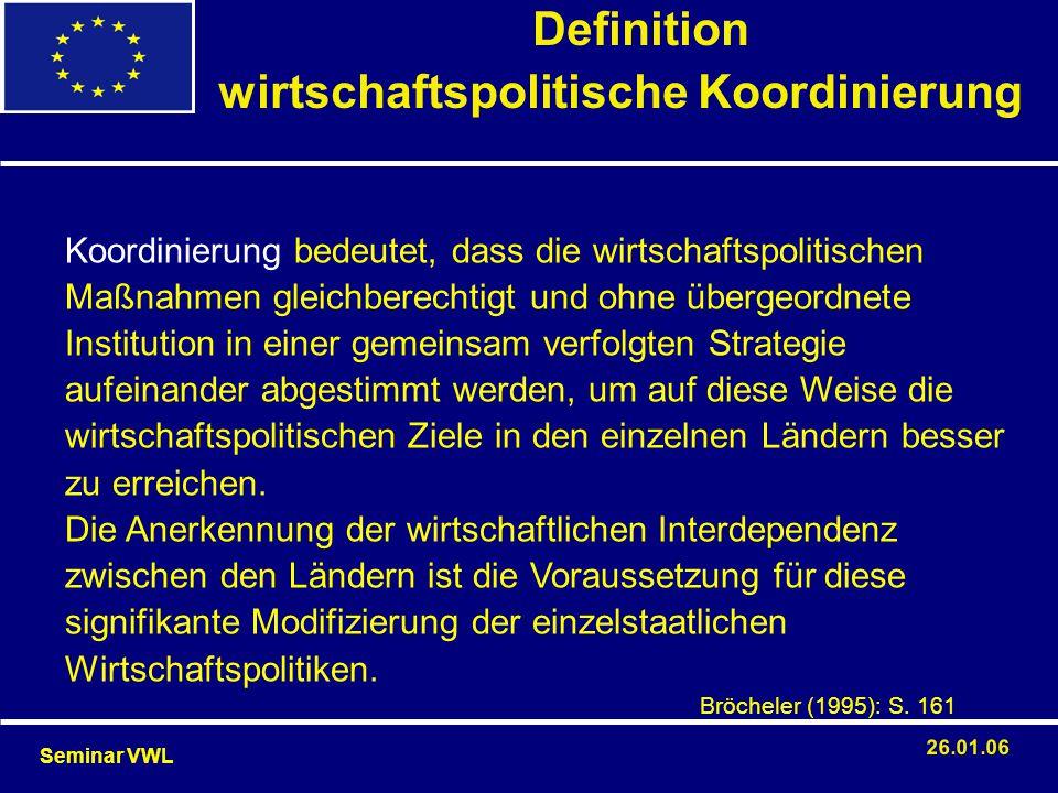 Definition wirtschaftspolitische Koordinierung Seminar VWL 26.01.06 Koordinierung bedeutet, dass die wirtschaftspolitischen Maßnahmen gleichberechtigt
