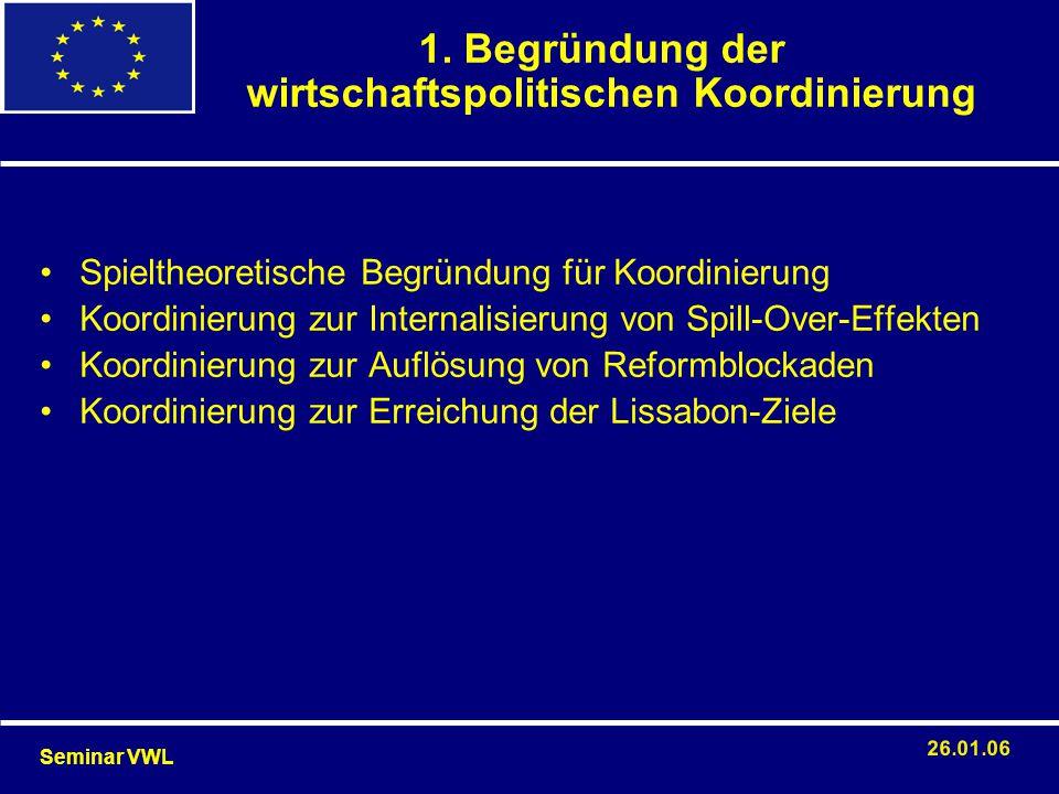 Spieltheoretische Begründung für Koordinierung Koordinierung zur Internalisierung von Spill-Over-Effekten Koordinierung zur Auflösung von Reformblocka