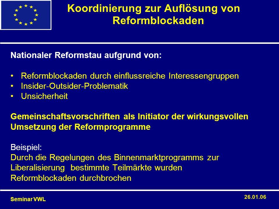 Nationaler Reformstau aufgrund von: Reformblockaden durch einflussreiche Interessengruppen Insider-Outsider-Problematik Unsicherheit Gemeinschaftsvors