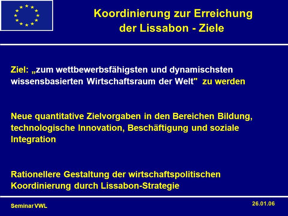 """mit der Einführung der WWU ist der Koordinierungsbedarf gestiegen, manche Wirtschaftswissenschaftler halten eine extensivere makroökonomische Politikkoordinierung in der EU jedoch für nicht wünschenswert und empfehlen stattdessen: """"keep their houses in order, all will be well begrenzte Möglichkeiten für eine Koordinierung der makroökonomischen Politikbereiche wegen der Unabhängigkeit der EZB und der Tarifautonomie der Sozialpartner und somit uneinheitlicher Lohnpolitik in den einzelnen Staaten die Koordinierungsprozesse befinden sich noch in einer """"trial- and-error-Phase 4."""