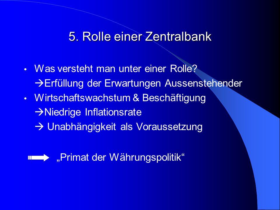 5.Rolle einer Zentralbank Was versteht man unter einer Rolle.