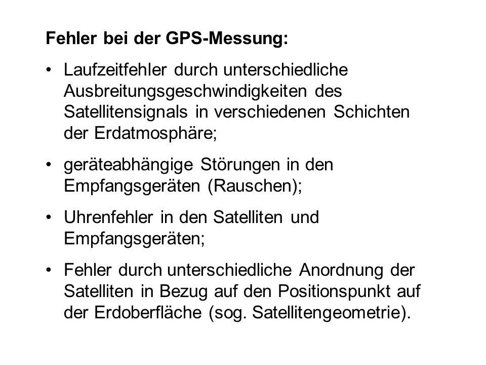 Fehler bei der GPS-Messung: Laufzeitfehler durch unterschiedliche Ausbreitungsgeschwindigkeiten des Satellitensignals in verschiedenen Schichten der E