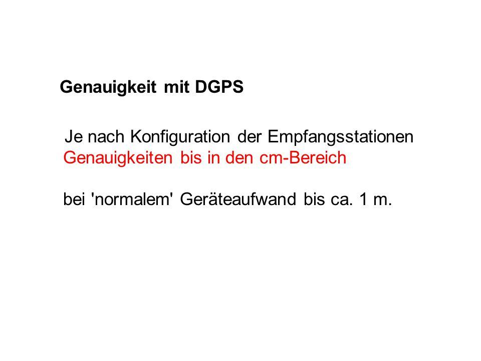 Genauigkeit mit DGPS Je nach Konfiguration der Empfangsstationen Genauigkeiten bis in den cm-Bereich bei 'normalem' Geräteaufwand bis ca. 1 m.