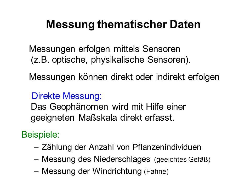 Messung thematischer Daten Messungen erfolgen mittels Sensoren (z.B. optische, physikalische Sensoren). Messungen können direkt oder indirekt erfolgen