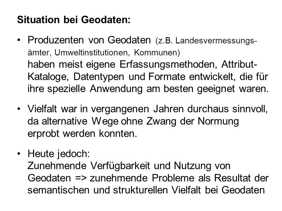 Situation bei Geodaten: Produzenten von Geodaten (z.B. Landesvermessungs- ämter, Umweltinstitutionen, Kommunen) haben meist eigene Erfassungsmethoden,
