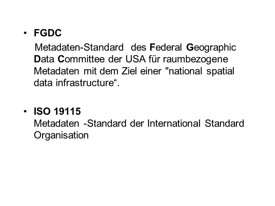 FGDC Metadaten-Standard des Federal Geographic Data Committee der USA für raumbezogene Metadaten mit dem Ziel einer