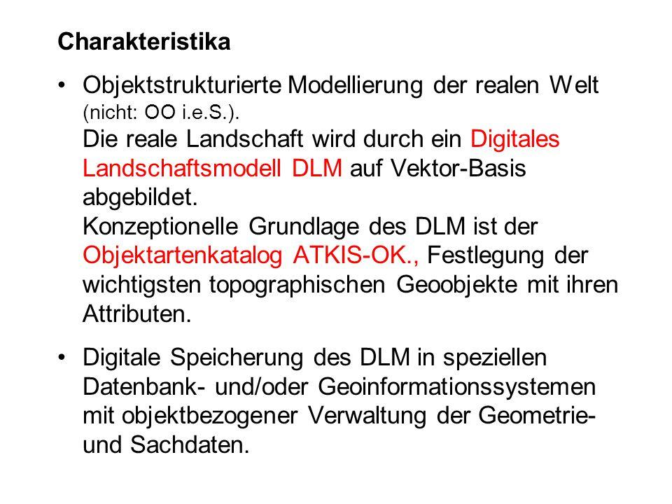 Charakteristika Objektstrukturierte Modellierung der realen Welt (nicht: OO i.e.S.). Die reale Landschaft wird durch ein Digitales Landschaftsmodell D