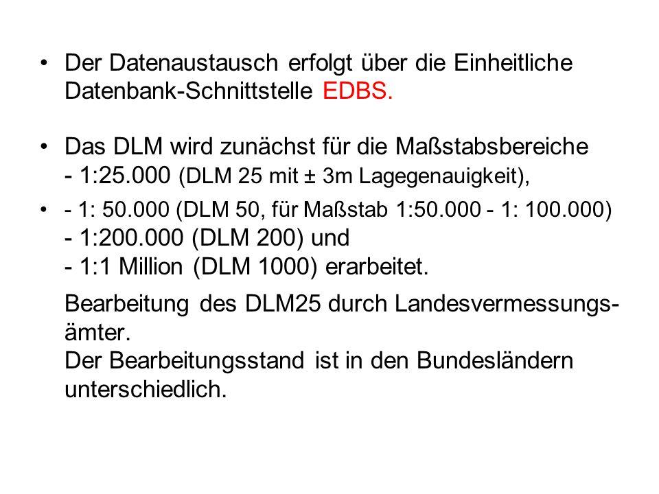 Der Datenaustausch erfolgt über die Einheitliche Datenbank-Schnittstelle EDBS. Das DLM wird zunächst für die Maßstabsbereiche - 1:25.000 (DLM 25 mit ±