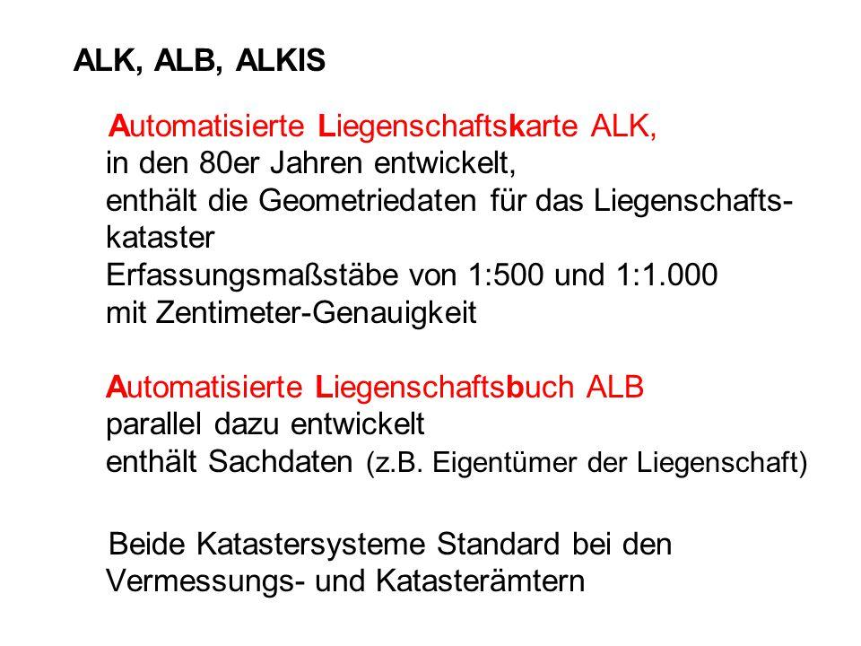 ALK, ALB, ALKIS Automatisierte Liegenschaftskarte ALK, in den 80er Jahren entwickelt, enthält die Geometriedaten für das Liegenschafts- kataster Erfas