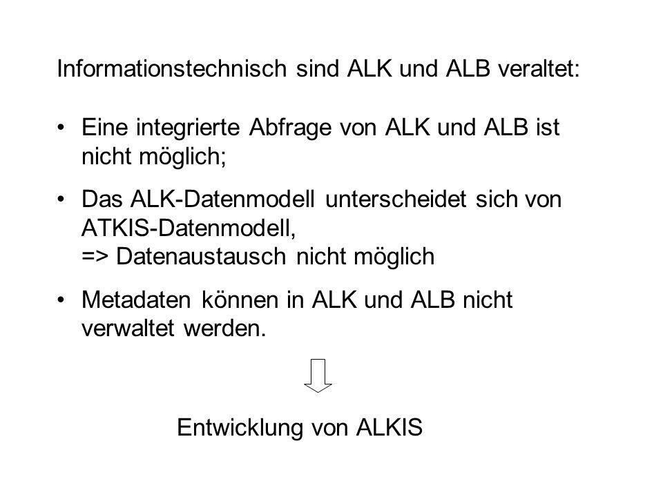 Informationstechnisch sind ALK und ALB veraltet: Eine integrierte Abfrage von ALK und ALB ist nicht möglich; Das ALK-Datenmodell unterscheidet sich vo