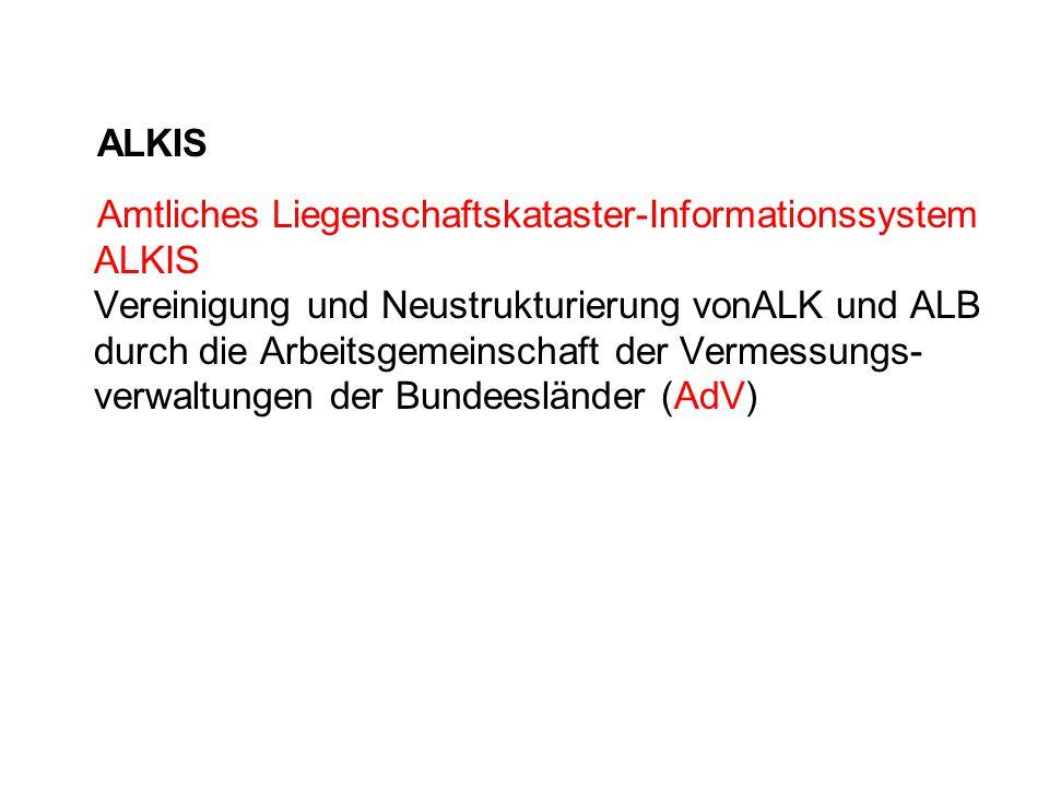 ALKIS Amtliches Liegenschaftskataster-Informationssystem ALKIS Vereinigung und Neustrukturierung vonALK und ALB durch die Arbeitsgemeinschaft der Verm