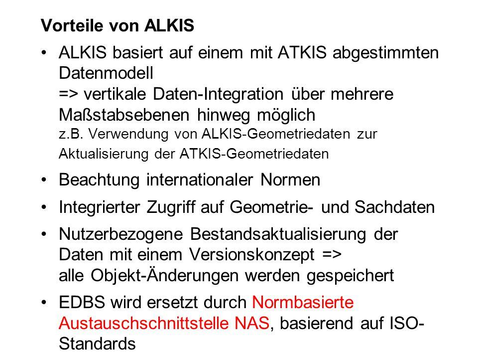 Vorteile von ALKIS ALKIS basiert auf einem mit ATKIS abgestimmten Datenmodell => vertikale Daten-Integration über mehrere Maßstabsebenen hinweg möglic