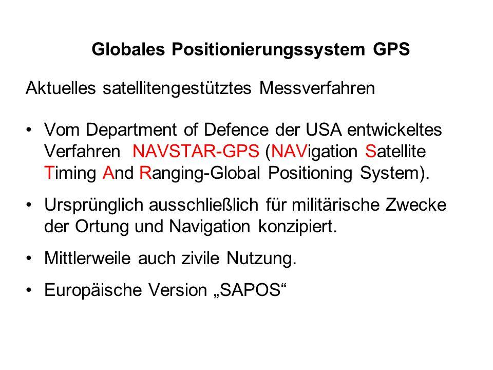 Globales Positionierungssystem GPS Aktuelles satellitengestütztes Messverfahren Vom Department of Defence der USA entwickeltes Verfahren NAVSTAR-GPS (