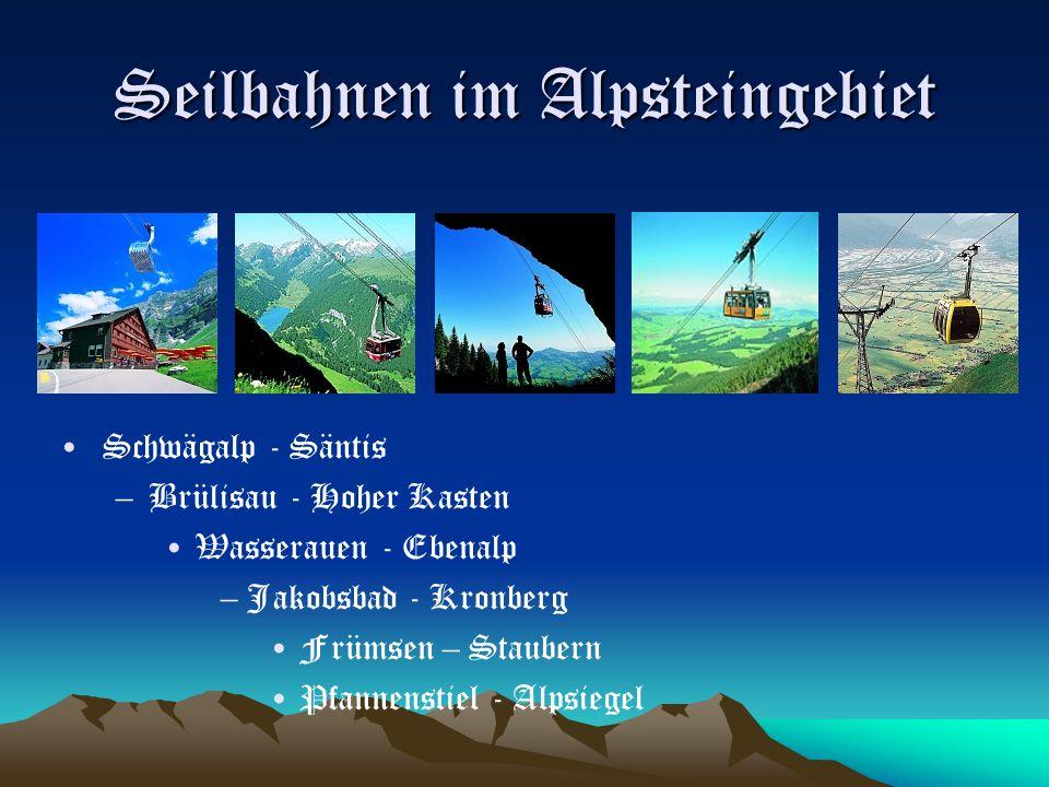 Seilbahnen im Alpsteingebiet Schwägalp - Säntis –Brülisau - Hoher Kasten Wasserauen - Ebenalp –Jakobsbad - Kronberg Frümsen – Staubern Pfannenstiel -