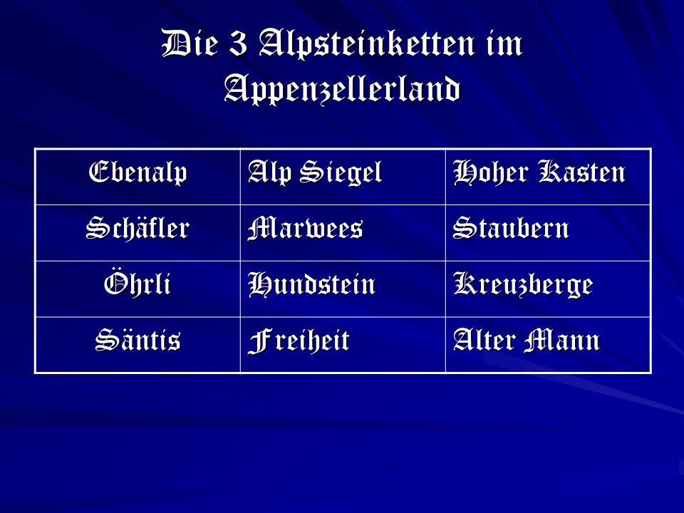 Die 3 Alpsteinketten im Appenzellerland Ebenalp Alp Siegel Hoher Kasten SchäflerMarweesStaubern ÖhrliHundsteinKreuzberge SäntisFreiheit Alter Mann