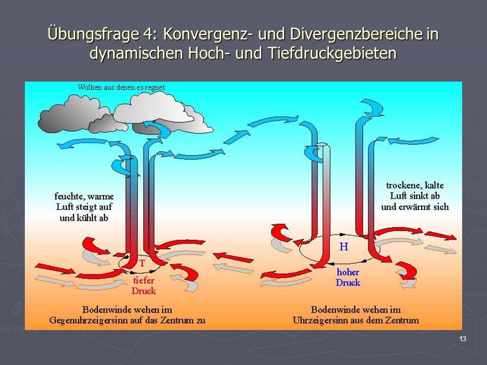 13 Übungsfrage 4: Konvergenz- und Divergenzbereiche in dynamischen Hoch- und Tiefdruckgebieten