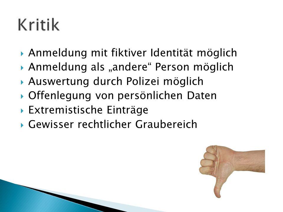""" Anmeldung mit fiktiver Identität möglich  Anmeldung als """"andere"""" Person möglich  Auswertung durch Polizei möglich  Offenlegung von persönlichen D"""