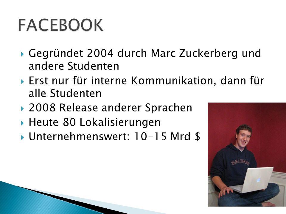  Gegründet 2004 durch Marc Zuckerberg und andere Studenten  Erst nur für interne Kommunikation, dann für alle Studenten  2008 Release anderer Sprac