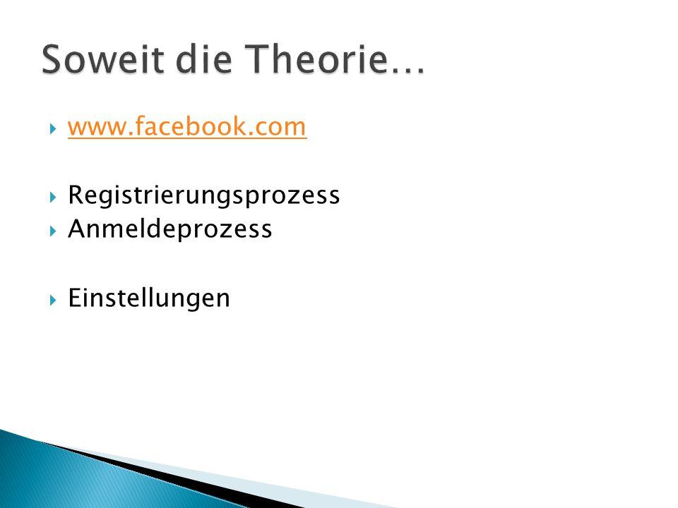  www.facebook.com www.facebook.com  Registrierungsprozess  Anmeldeprozess  Einstellungen