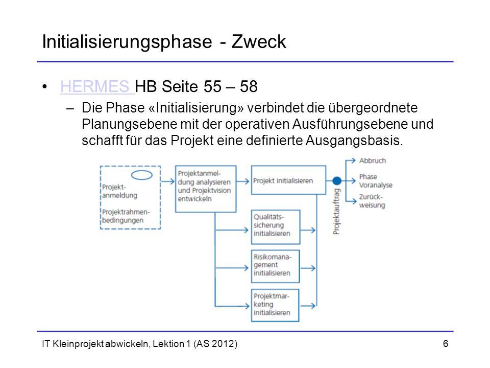 IT Kleinprojekt abwickeln, Lektion 1 (AS 2012)6 Initialisierungsphase - Zweck HERMES HB Seite 55 – 58HERMES –Die Phase «Initialisierung» verbindet die übergeordnete Planungsebene mit der operativen Ausführungsebene und schafft für das Projekt eine definierte Ausgangsbasis.
