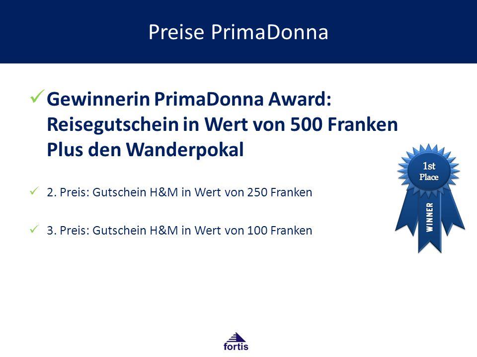 Preise PrimaDonna Gewinnerin PrimaDonna Award: Reisegutschein in Wert von 500 Franken Plus den Wanderpokal 2.