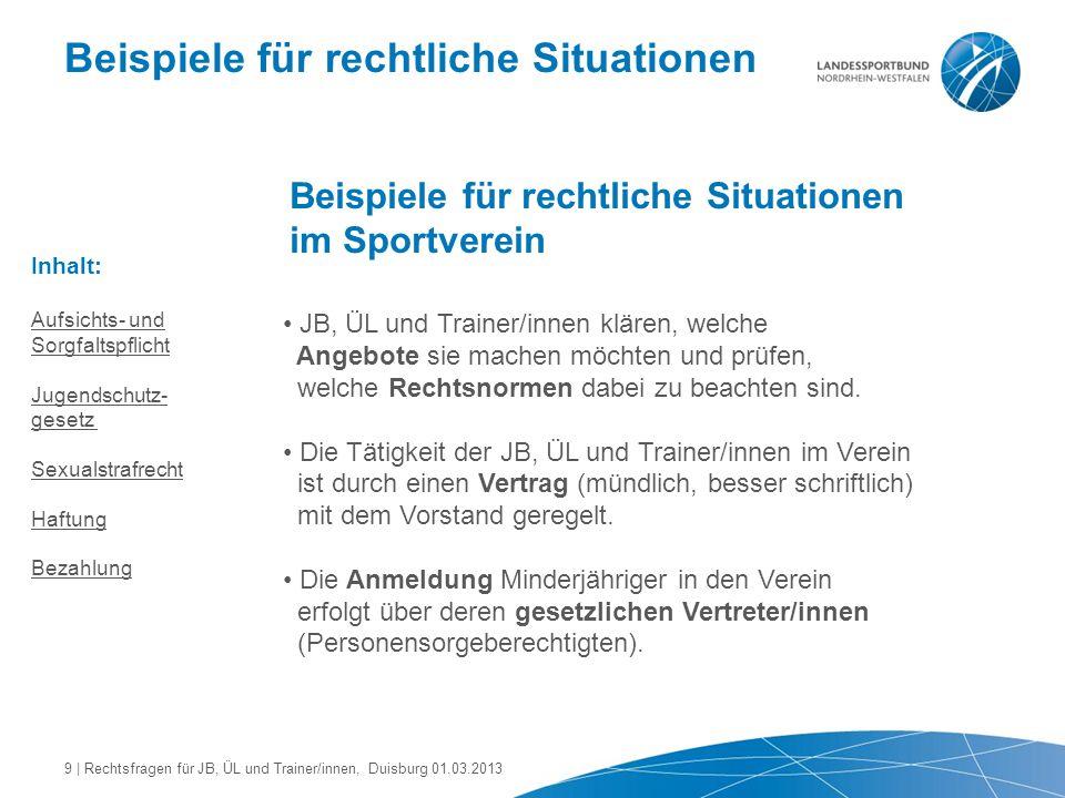 Beispiele für rechtliche Situationen Beispiele für rechtliche Situationen im Sportverein Der Verein muss die eingesetzten JB, ÜL und Trainer/innen sorgfältig auswählen.
