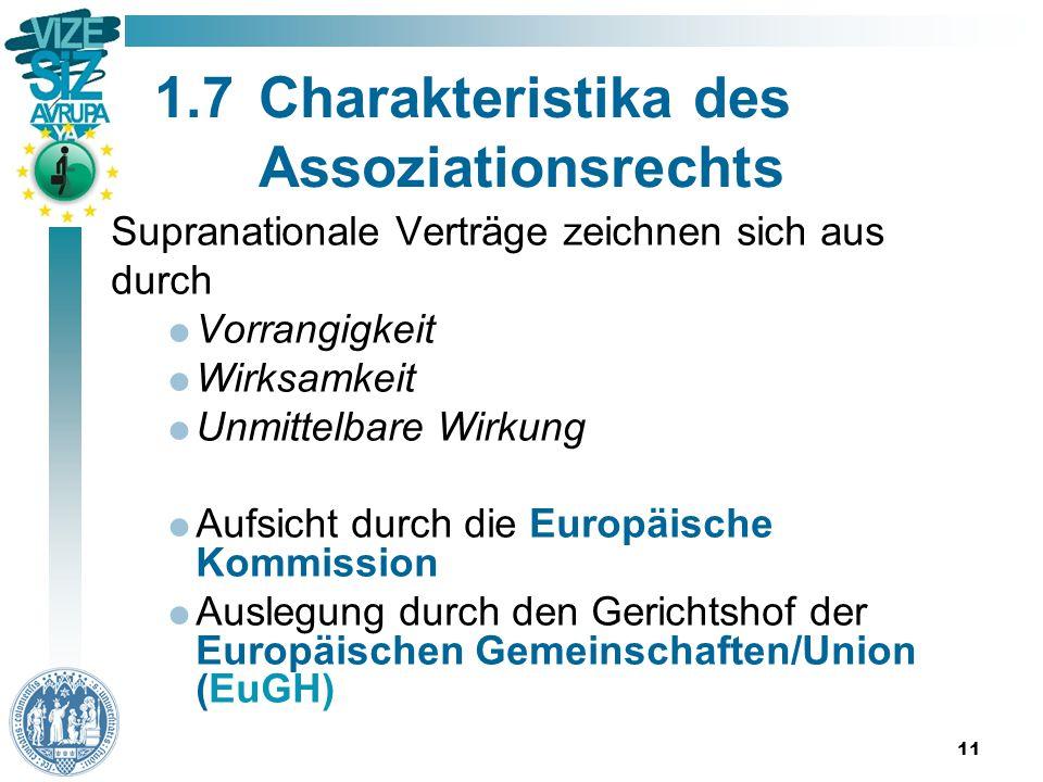 11 1.7Charakteristika des Assoziationsrechts Supranationale Verträge zeichnen sich aus durch  Vorrangigkeit  Wirksamkeit  Unmittelbare Wirkung  Aufsicht durch die Europäische Kommission  Auslegung durch den Gerichtshof der Europäischen Gemeinschaften/Union (EuGH)