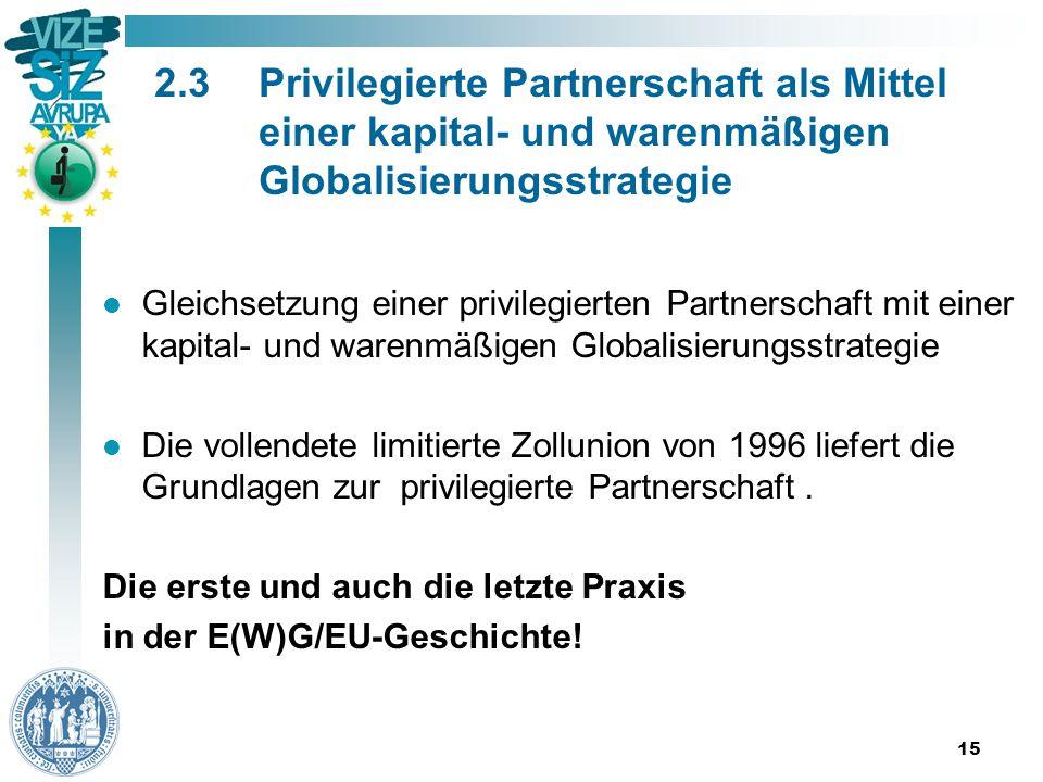 2.3Privilegierte Partnerschaft als Mittel einer kapital- und warenmäßigen Globalisierungsstrategie Gleichsetzung einer privilegierten Partnerschaft mit einer kapital- und warenmäßigen Globalisierungsstrategie Die vollendete limitierte Zollunion von 1996 liefert die Grundlagen zur privilegierte Partnerschaft.