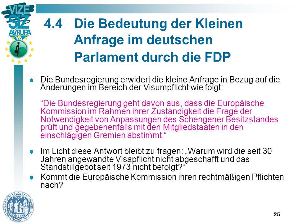 """25 4.4Die Bedeutung der Kleinen Anfrage im deutschen Parlament durch die FDP Die Bundesregierung erwidert die kleine Anfrage in Bezug auf die Änderungen im Bereich der Visumpflicht wie folgt: Die Bundesregierung geht davon aus, dass die Europäische Kommission im Rahmen ihrer Zuständigkeit die Frage der Notwendigkeit von Anpassungen des Schengener Besitzstandes prüft und gegebenenfalls mit den Mitgliedstaaten in den einschlägigen Gremien abstimmt. Im Licht diese Antwort bleibt zu fragen: """"Warum wird die seit 30 Jahren angewandte Visapflicht nicht abgeschafft und das Standstillgebot seit 1973 nicht befolgt Kommt die Europäische Kommission ihren rechtmäßigen Pflichten nach"""