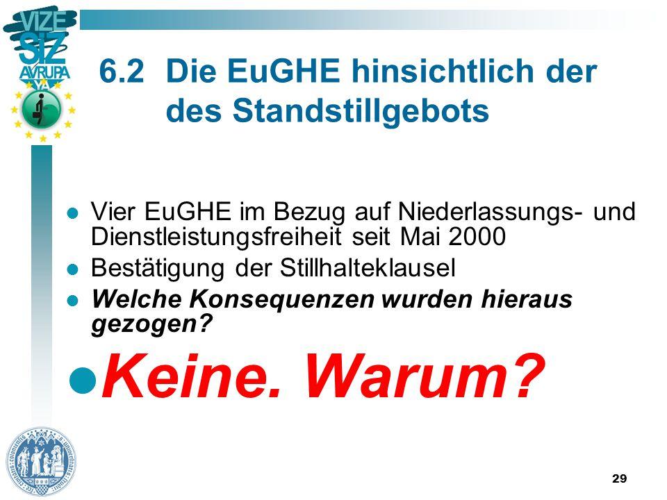 29 6.2Die EuGHE hinsichtlich der des Standstillgebots Vier EuGHE im Bezug auf Niederlassungs- und Dienstleistungsfreiheit seit Mai 2000 Bestätigung der Stillhalteklausel Welche Konsequenzen wurden hieraus gezogen.