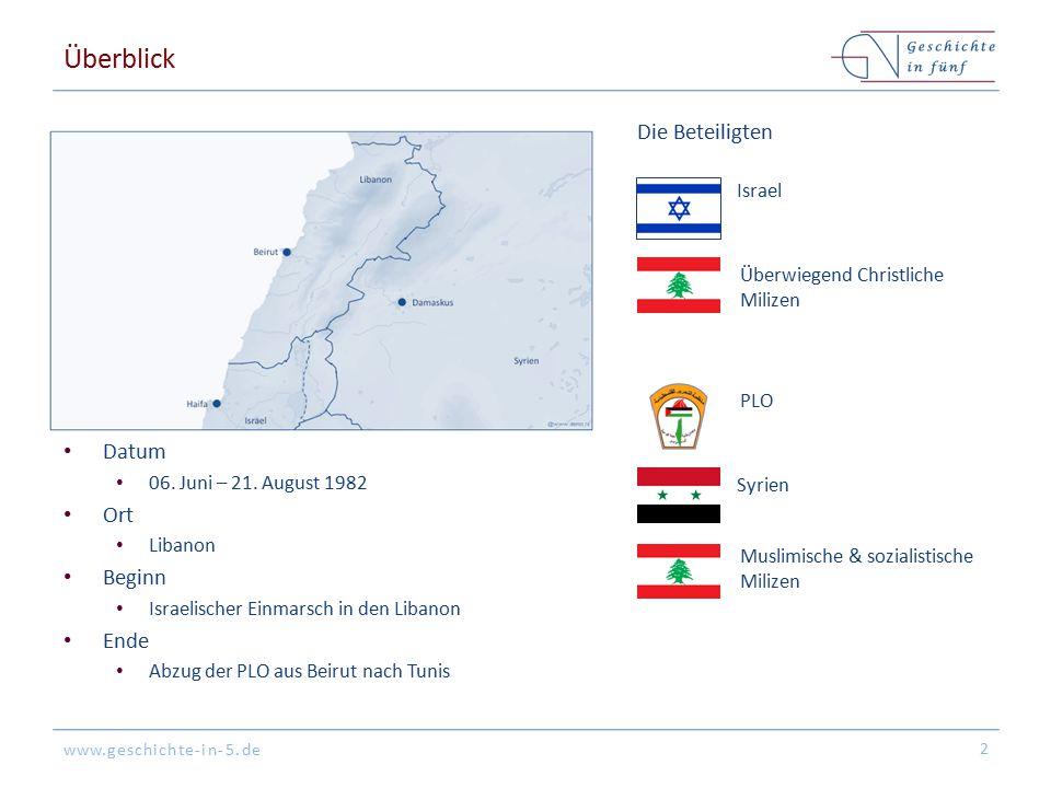 www.geschichte-in-5.de Hintergrund Libanon ist instabil auf Grund des Bürgerkriegs (1975-1990) zwischen christlichen & muslimischen Milizen Syrische Truppen agieren seit 01.