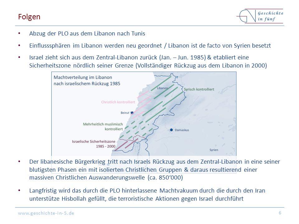 www.geschichte-in-5.de Folgen Israel zieht sich aus dem Zentral-Libanon zurück (Jan.