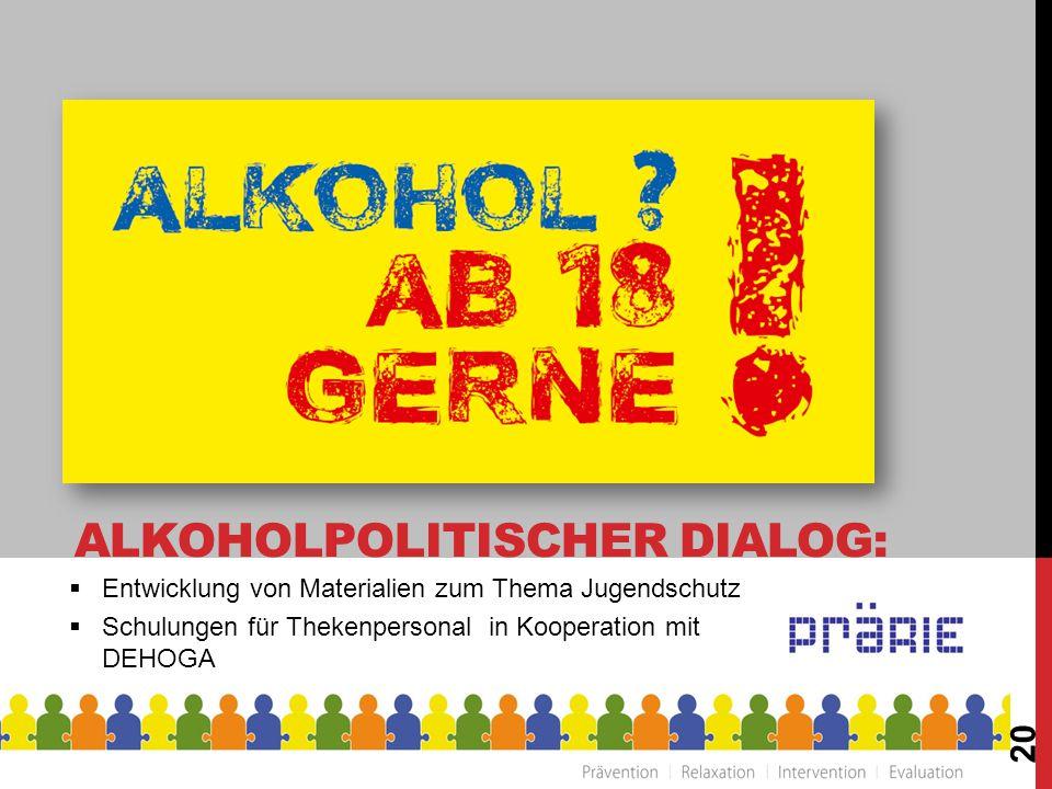  Entwicklung von Materialien zum Thema Jugendschutz  Schulungen für Thekenpersonal in Kooperation mit DEHOGA 20 ALKOHOLPOLITISCHER DIALOG: