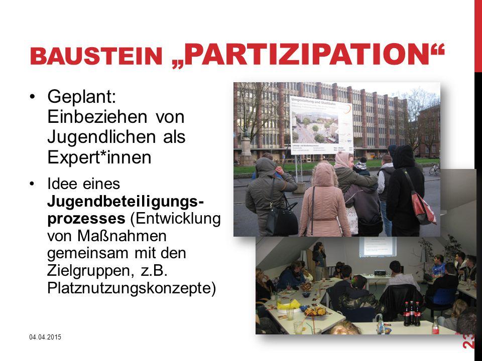 """BAUSTEIN """" PARTIZIPATION"""" Geplant: Einbeziehen von Jugendlichen als Expert*innen Idee eines Jugendbeteiligungs- prozesses (Entwicklung von Maßnahmen g"""