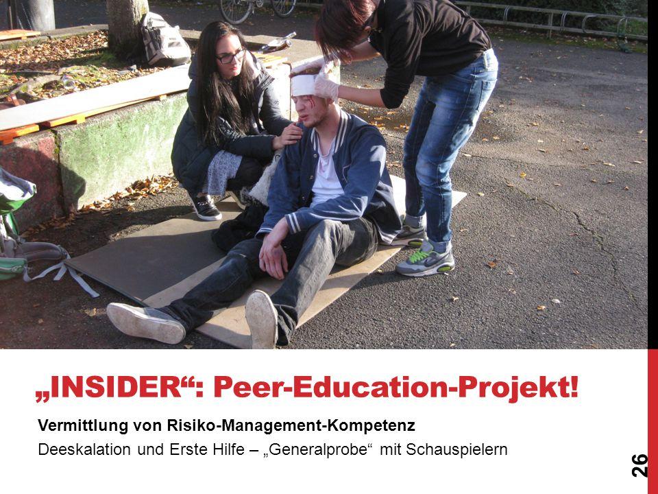 """Vermittlung von Risiko-Management-Kompetenz Deeskalation und Erste Hilfe – """"Generalprobe"""" mit Schauspielern 26 """"INSIDER"""" - Peer-Education-Projekt! """"IN"""