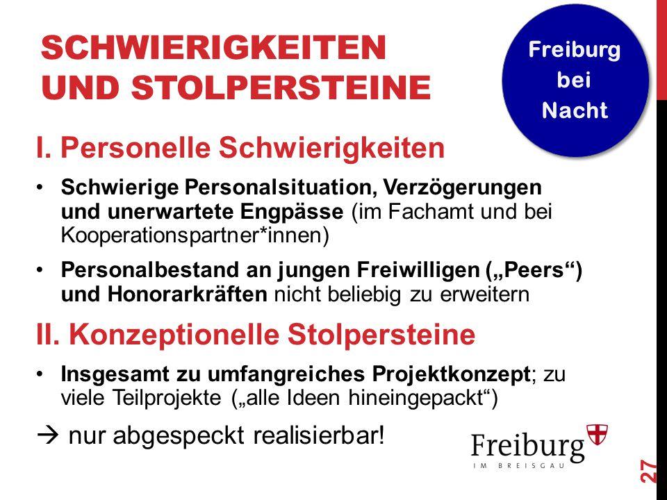 27 Freiburg bei Nacht SCHWIERIGKEITEN UND STOLPERSTEINE I. Personelle Schwierigkeiten Schwierige Personalsituation, Verzögerungen und unerwartete Engp