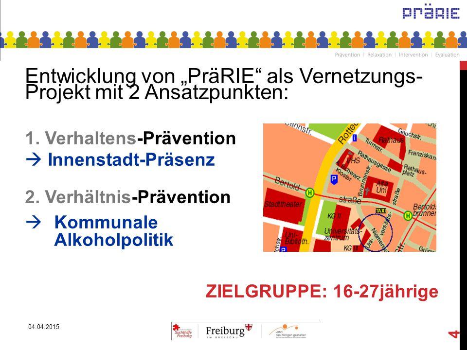 """04.04.2015 4 Entwicklung von """"PräRIE"""" als Vernetzungs- Projekt mit 2 Ansatzpunkten: 1. Verhaltens-Prävention  Innenstadt-Präsenz 2. Verhältnis-Präven"""