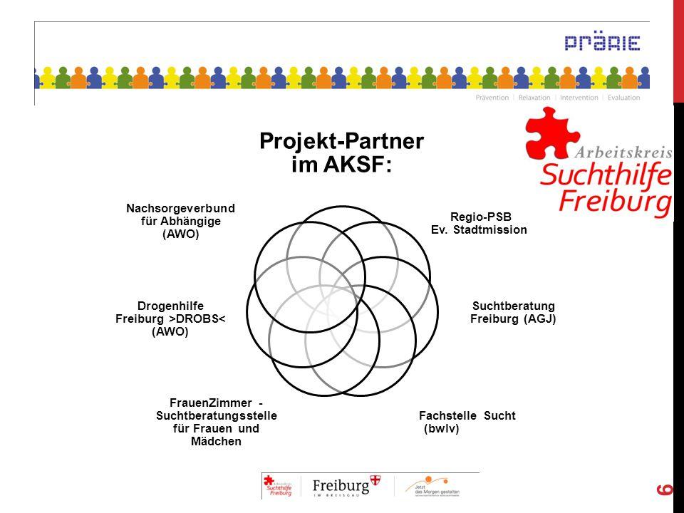 Projekt-Partner im AKSF: Regio-PSB Ev. Stadtmission Suchtberatung Freiburg (AGJ) Fachstelle Sucht (bwlv) FrauenZimmer - Suchtberatungsstelle für Fraue