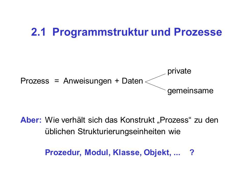 """2.1 Programmstruktur und Prozesse private Prozess = Anweisungen + Daten gemeinsame Aber:Wie verhält sich das Konstrukt """"Prozess"""" zu den üblichen Struk"""