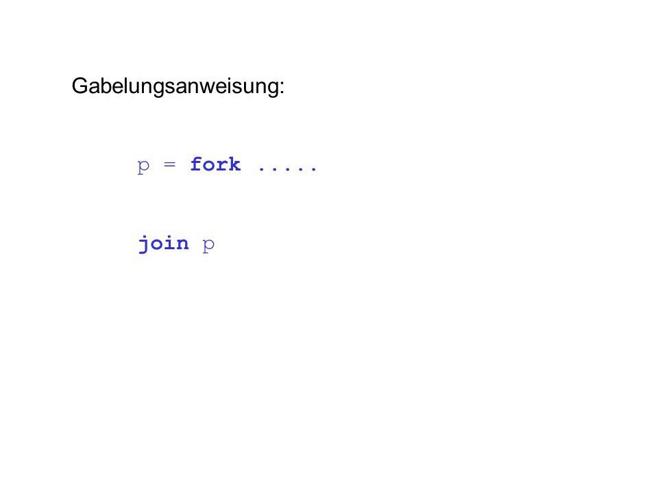 Gabelungsanweisung: p = fork..... join p