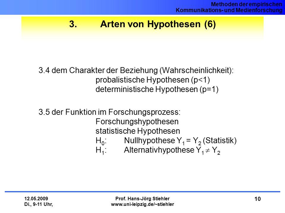 Methoden der empirischen Kommunikations- und Medienforschung 12.05.2009 Di., 9-11 Uhr, Prof. Hans-Jörg Stiehler www.uni-leipzig.de/~stiehler 10 3. Art