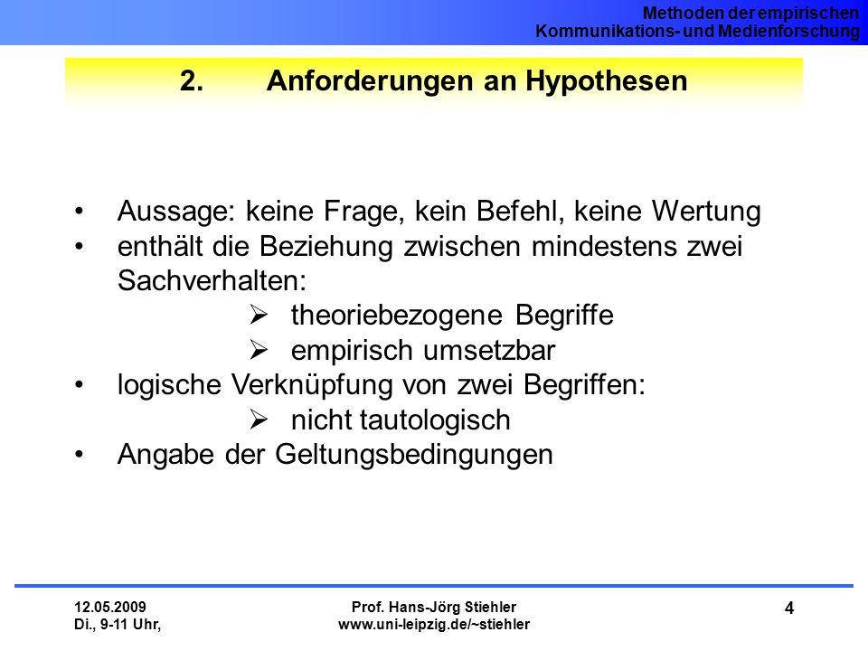 Methoden der empirischen Kommunikations- und Medienforschung 12.05.2009 Di., 9-11 Uhr, Prof. Hans-Jörg Stiehler www.uni-leipzig.de/~stiehler 4 2.Anfor