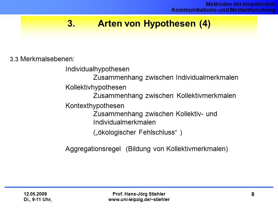 Methoden der empirischen Kommunikations- und Medienforschung 12.05.2009 Di., 9-11 Uhr, Prof. Hans-Jörg Stiehler www.uni-leipzig.de/~stiehler 8 3. Arte