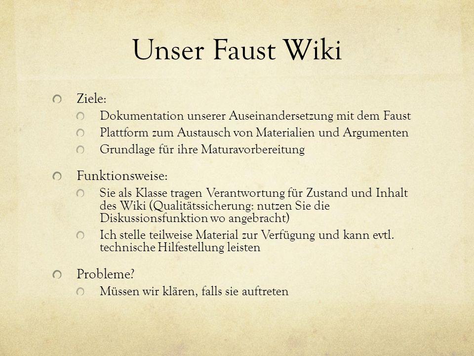 Unser Faust Wiki Ziele: Dokumentation unserer Auseinandersetzung mit dem Faust Plattform zum Austausch von Materialien und Argumenten Grundlage für ih