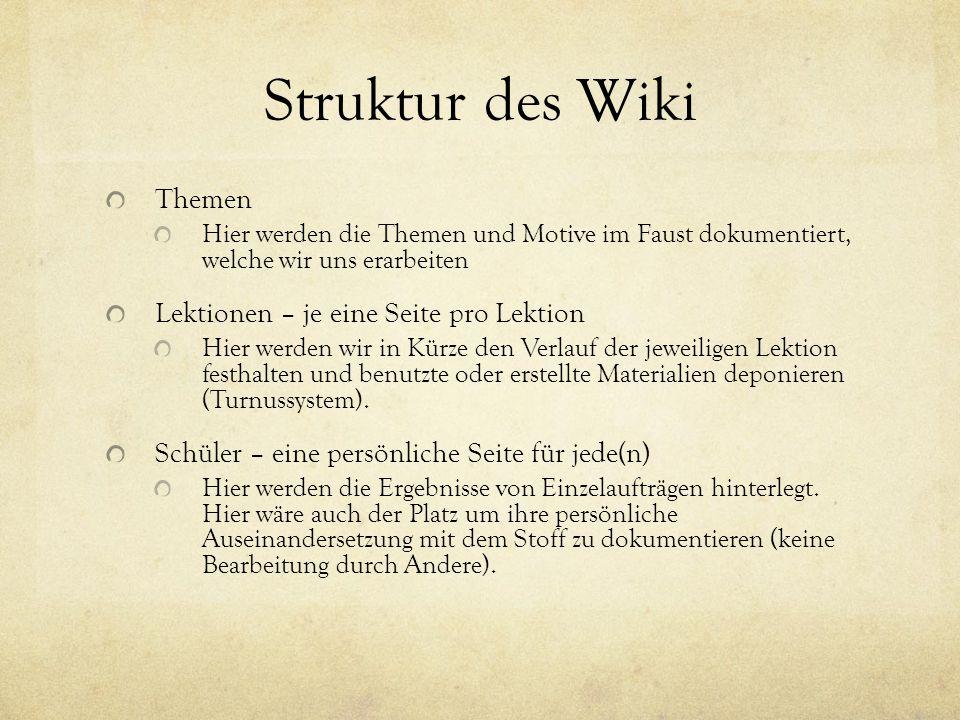 Struktur des Wiki Themen Hier werden die Themen und Motive im Faust dokumentiert, welche wir uns erarbeiten Lektionen – je eine Seite pro Lektion Hier